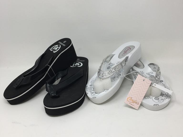 593eacf2d Lot Of 2 Women s Wedge Flip Flops Brands  Candies Size  Medium