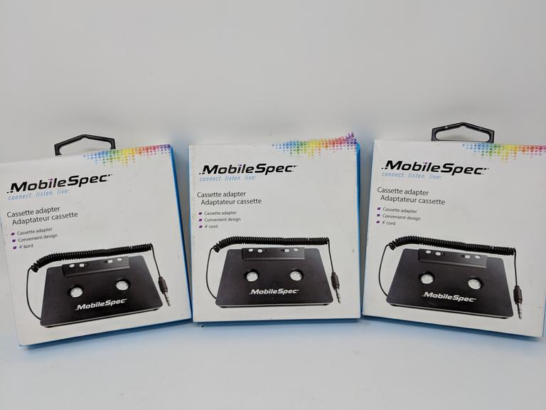 Lot of 3 Mobile Spec Cassette Adapter w/ 4' cord