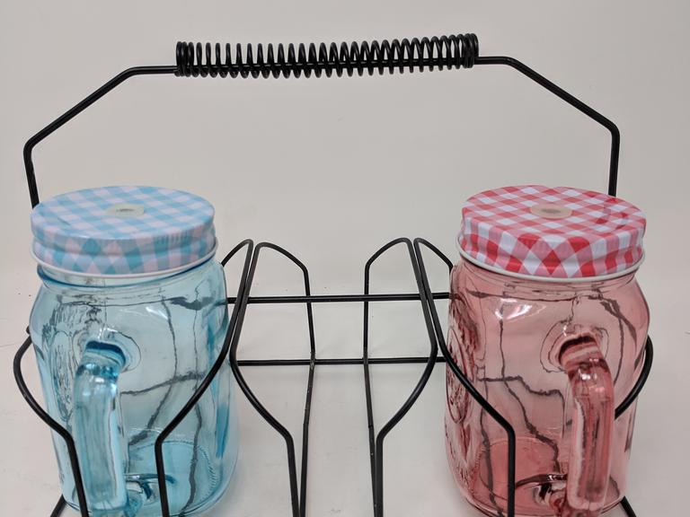 Mason Jar Cup Carrier w/ 2 Mason Jar Cups