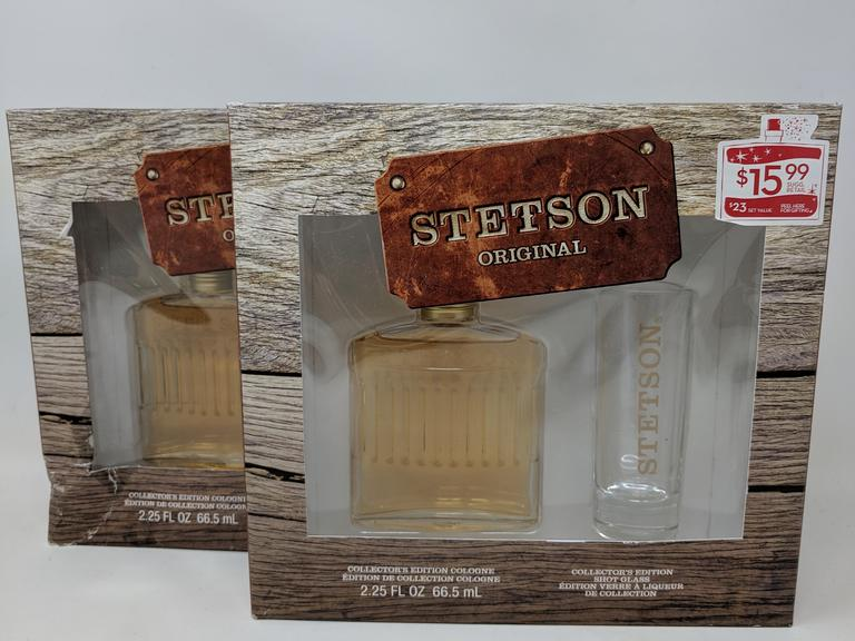 Lot of 2 Stetson Original Collectors Addition Colognes w/ Shot Glasses