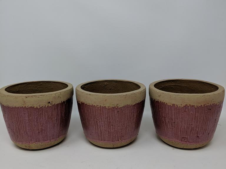 Lot of 3 Clay Flower Pots